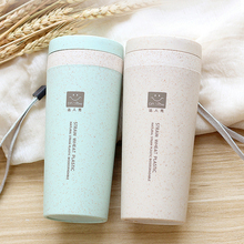 Wheat straw double cup Creative portable hand cup Environmental protection cup with lid Student cup Tea Coffee Water wheat straw double cup creative portable hand cup environmental protection cup with lid student cup tea coffee water