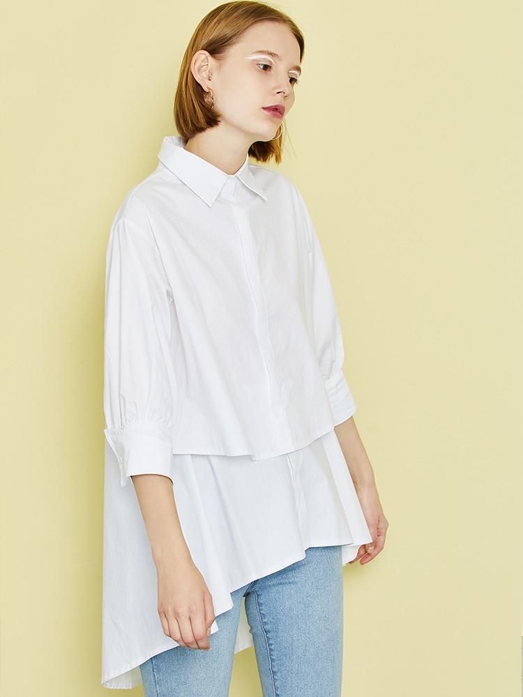Toyouth Women Blouse Summer Three Quarter Sleeve Irregular Shirt Vintage Stylish White Blusas Ladies Tops Casual Blusa Feminina