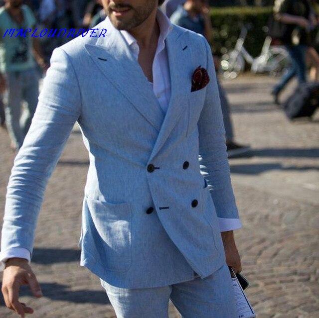 blauw linnen pak