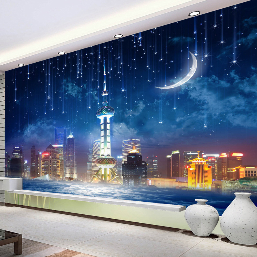 Custom 3D Photo Wallpaper City Night Large Murals Wall Papers Home Decor Living Room Bedroom Wall Covering Painting Wallpaper custom photo wallpaper 3d green forest nature landscape large murals living room sofa bedroom modern wall painting home decor