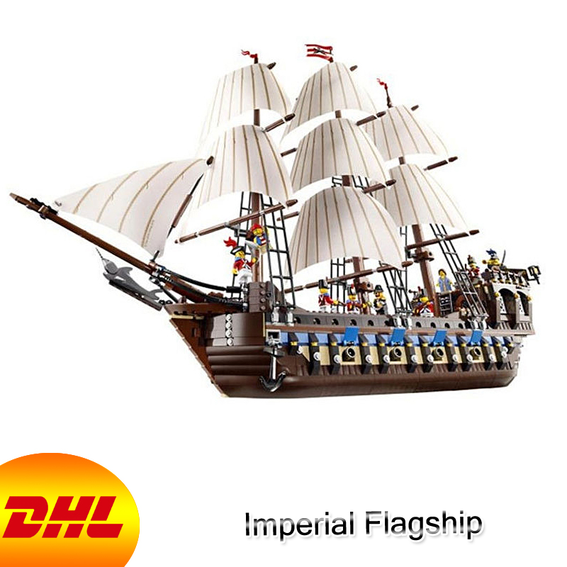 HF Movie Pirates Of The Caribbean Figures 1717Pcs Imperial Flagship Model Building Kits Blocks Bricks Toys For Children 10210 lepin 16006 804pcs pirates of the caribbean black pearl building blocks bricks set the figures compatible with lifee toys gift