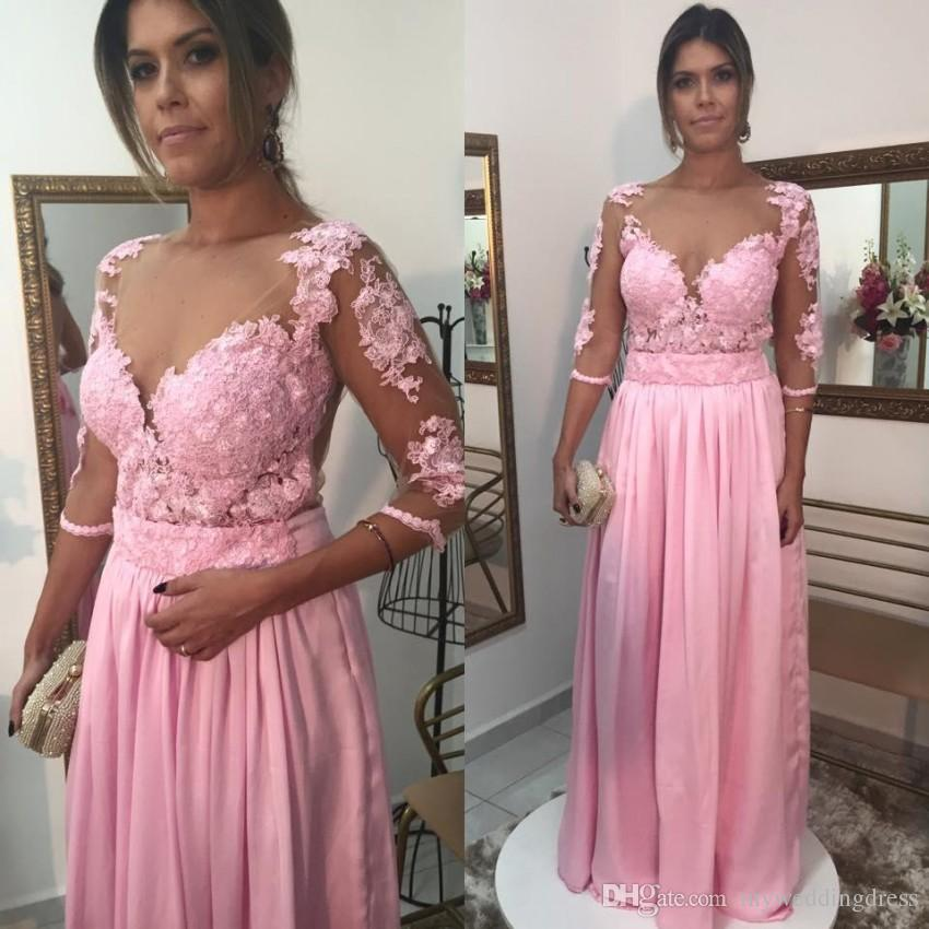 023609e196 2017 Pakistan Muslim Pink Chiffon Cheap Prom Dresses Long Sleeves With Lace  Sexy Formal Evening Party Dresses