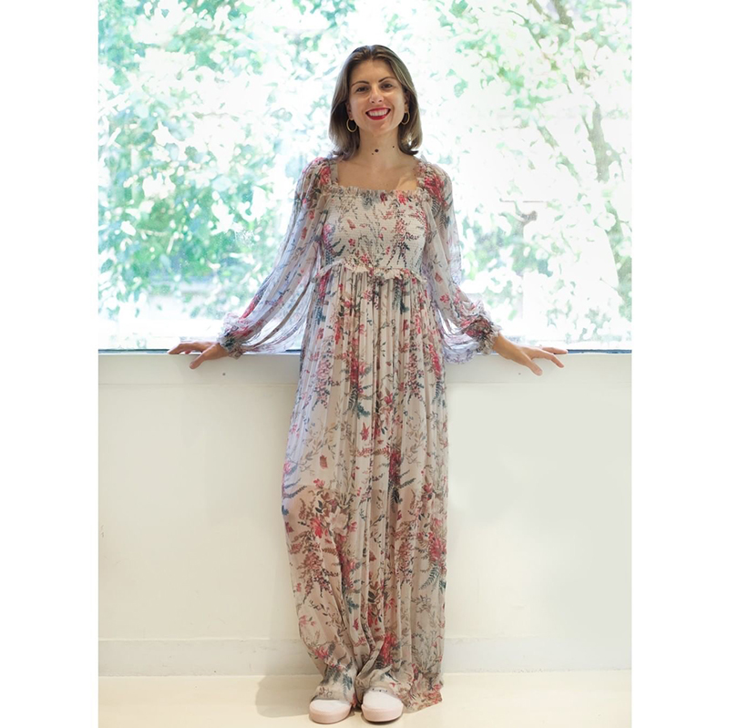 2dc9a15f7b Silk 100% Ladies Bayou Shirred Floral Print Ruffle Long Dress With On/Off  The Shoulder & Blouson Sleeves & Shirred Bodice Detail