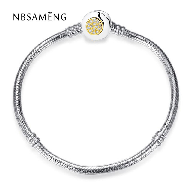 Authentic 925 Sterling Silver Moments Two Tone With Signature Clasp Clear CZ Snake Chain Bracelet Fit Pan Bangle DIY Jewelry 925 sterling silver jewelry signature bangle bracelet with clear cz and real 14k gold fine jewelry trendy bangles for women 049k
