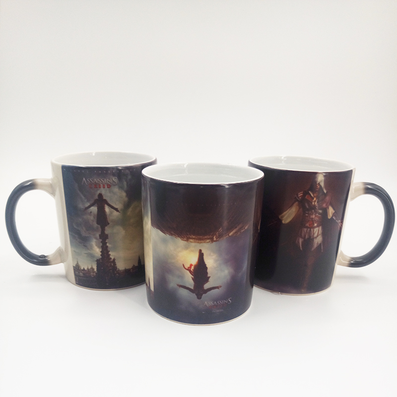 Assassin's Creed Color Change Mugs Leap <font><b>of</b></font> <font><b>Faith</b></font> Ceramic Milk <font><b>Cups</b></font> Magic Discoloration Mugs Ezio Sleeves sword