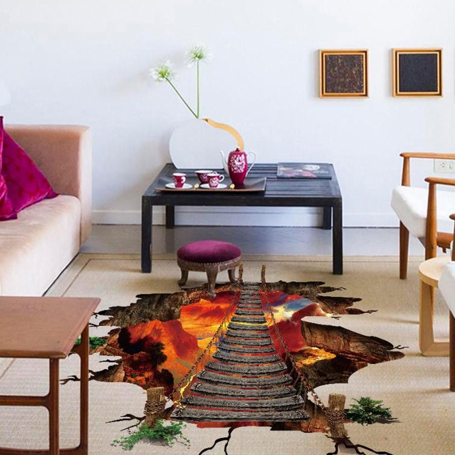 3d flaming floor wall stickers removable mural decals - Removable wall stickers living room ...