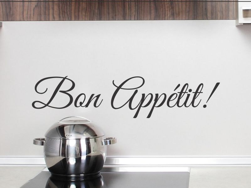 French Word Bon Appetit Wall Decal Kitchen Vinyl Wall Sticker Dining Room Removable Wall