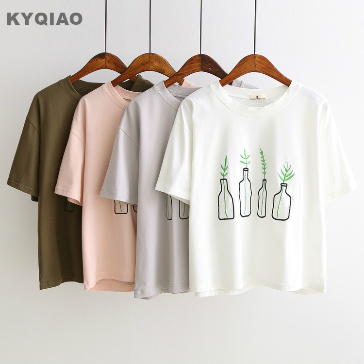 Mori girls summer Japan style cute hippie white grey pink bottles plant embroidery t shirt for daughter students tee top