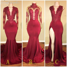 Burgundy Gold Lace Appliques Sequin Mermaid Prom Dress 2019 Mermaid Sexy Maxi Gowns for Charming Buxom Black Women Girl most buxom