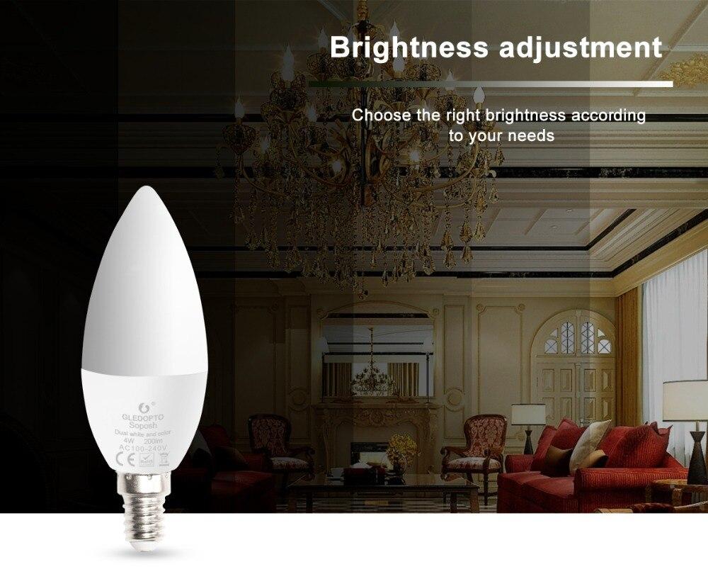 Купить с кэшбэком Smart Zigbee hub light bulb led 4W candle rgbw/rgbww/cw smart APP control AC100-240V wotk with amazon echo plus and zigbee hub