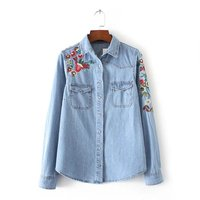 2017 Spring Vogue Women Clothing Floral Embroidered Denim Blouse Loose Lapel Slim Cotton Denim Shirt Long