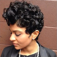 Afro Short Black Hierarchically Highlighted Curly Top Full Synthetic Wig Women Lady Wigs For Black Female JU6 drop shipping