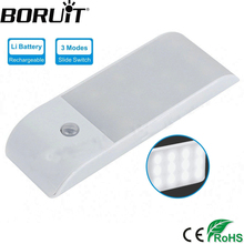BORUiT 12 LED Rechargeable Motion Sensor Night Light Activated Auto On/Off Closet Light Hallway Wall Lamp with Magnetic Strip