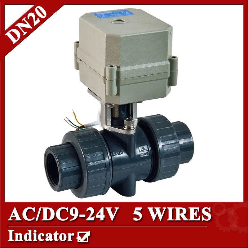 3/4 AC/DC9-24V PVC-U motorized valve, 5 wires control(CR502) electric water valve,DN20 Plastic ball valve POWER OFF RETURN 1 2 dc24vbrass 3 way t port motorized valve electric ball valve 3 wires cr301 dn15 electric valve for solar heating