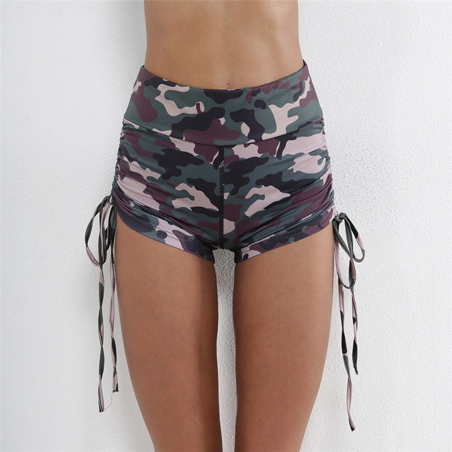 2019 woman sport shorts  Camo slim athletic shorts fashion drawstring design athletic leggings dance fitness shorts 40MA9 (9)