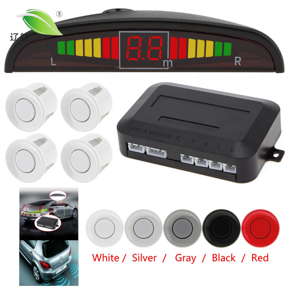Luz corazón coche Auto Led Sensor de aparcamiento Parktronic pantalla 4 sensores reverso asistencia Radar Detector Sistema de Monitor