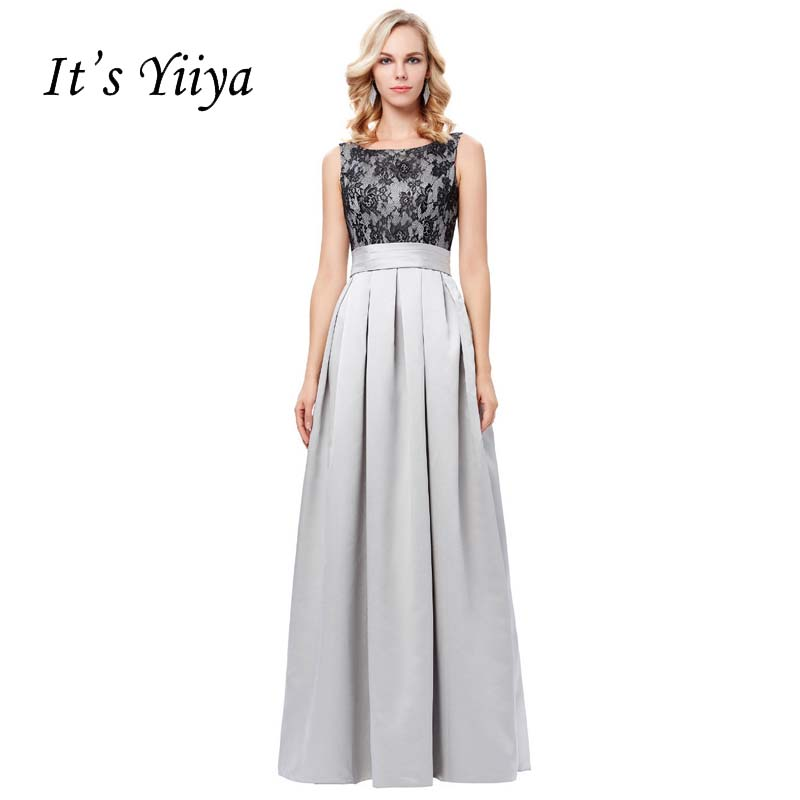 It's YiiYa Sex Lace Pleat Backless Vintage Taffeta Elegant Zipper Dinner Party Frocks Dresses Floor Length Evening Dresses YS015