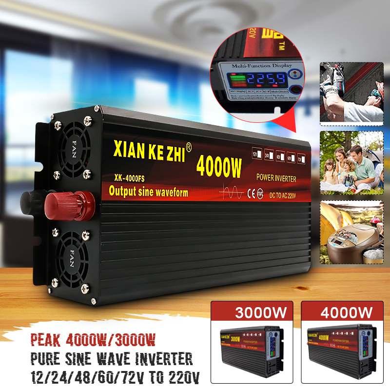 Solar Inverter 1600W 12//24//48//60V DC to 220V AC Sine Wave Power Inverter