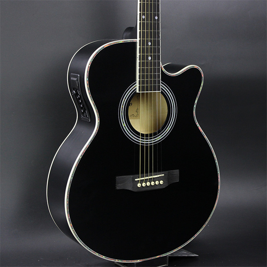 40 47 guitars black colour 40 inch acoustic guitar basswood wood guitar pickup tuner strings in. Black Bedroom Furniture Sets. Home Design Ideas