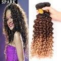 7A Ombre Brasileiro Virgem Cabelo Profunda Curly 3/4 Pacotes Ondulado Molhado Extensões de cabelo humano Perucas Onda Profunda Barato Cabelo Mocha Rosa Crespo Crespo