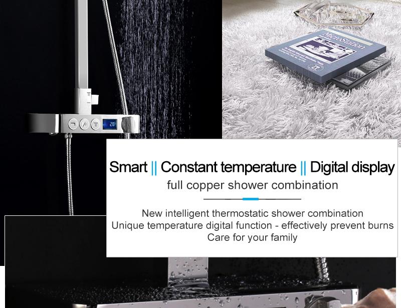 hm Installed Square shower Set Intelligent Digital Temperature Shower Brass Rain Faucet Smart Digital Display Wall Waterfall  (2)
