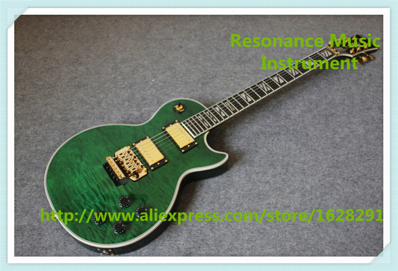 China Custom Shop Green Quilted Finish AL Signature LP Electric Guitars With Gold Floyd Rose Tremolo Free Shipping hot selling china quilted finish musicman ax 40 electric guitar with chrome floyd rose tremolo for sale
