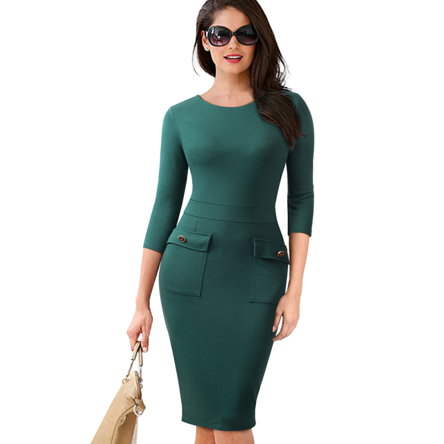 Autumn Female Buttons Solid Color Slim Office Work Dress Classic Women O-Neck Casual Business Pencil Dress EB465