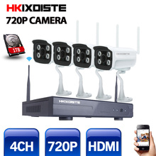4CH ИК HD домашней безопасности Wi-Fi Беспроводной IP Камера Системы 720 P комплект видеонаблюдения Открытый Wi-Fi Камера s-Video NVR комплект видеонаблюдения