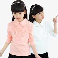2017 Autumn Winter Girls Warm Plus Velvet Lace Blouse Shirts For Girls Clothes Children Clothing Princess