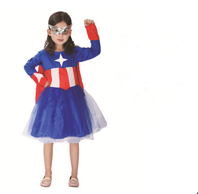 New kid girl child Captain America Costume 110-140cm Superhero Children's Halloween Costumes  Kids Cosplay Costume party gift