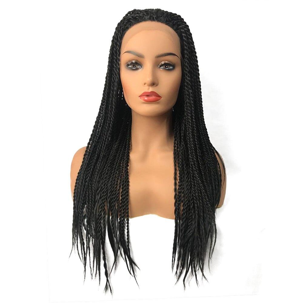 StrongBeauty Tressé Boîte Tresses Cheveux Synthétiques Tresse Torsadée Avant de Lacet Perruques Longues Noir Afro-Américain Perruque