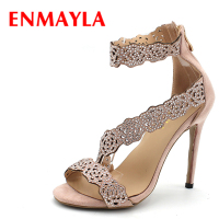 ENMAYLA Womens High Heels Shoes Summer Ladies Gladiator Sandals Women Faux Suede Open Toe Rhinestone Strappy