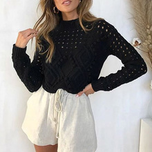 цена на Chic White High Neck PomPom Ball Knitting Sweater Women Long Sleeve Cropped Sweater Autumn Winter Slim Pullover Jumper Top
