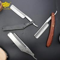 Retro Carbon Steel + Stainless Steel Barber Beard Shaving Razor Professional Salon Barber Hair Changeable Blade Shaving Knife