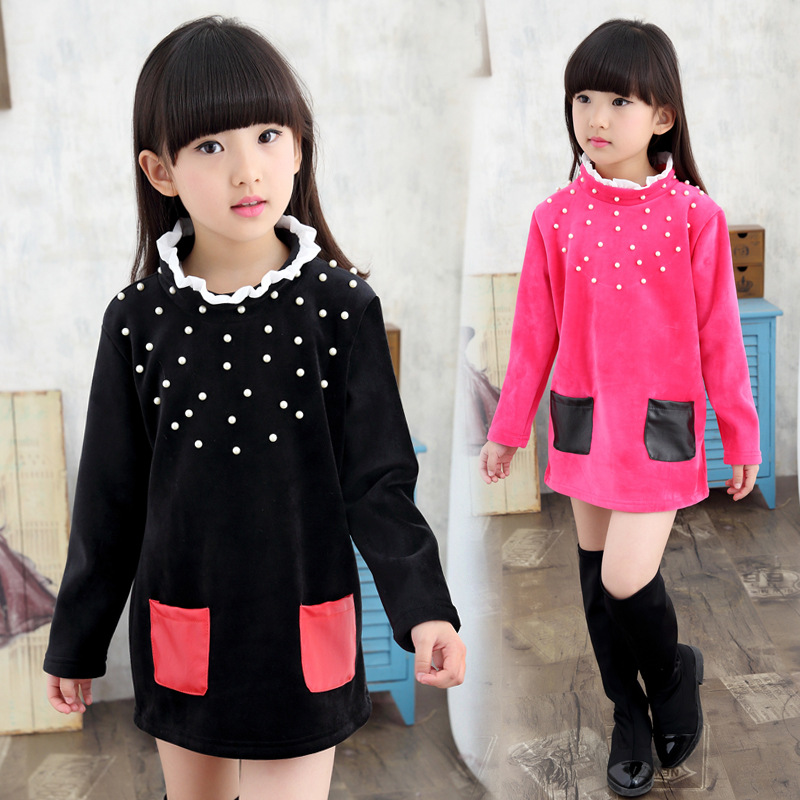 2016 Winter Flower O-Neck Velour Girls Long Sleeve T-Shirts, Color Contrast Girls Bottoming Shirts,Rose/Black,Height 120-160 cm