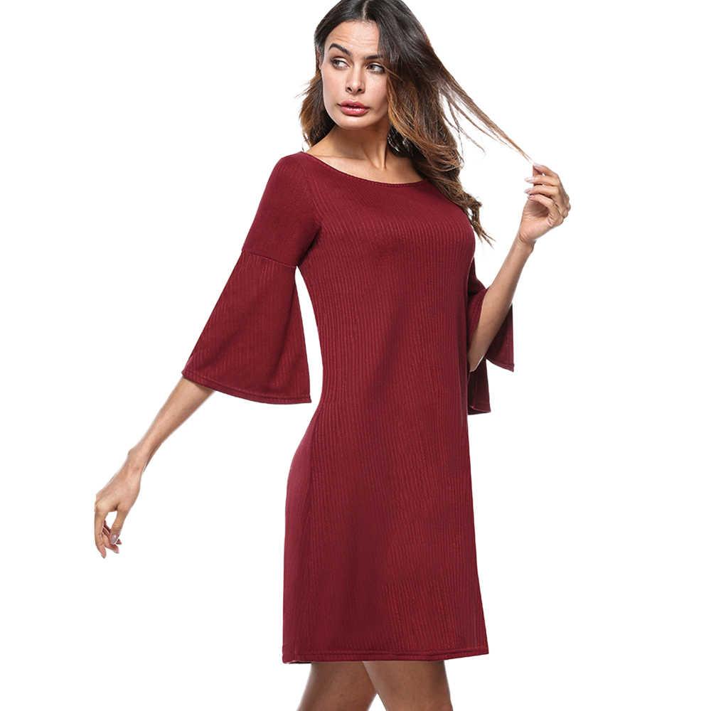 Хорошее-forever женское повседневное однотонное платье с расклешенными рукавами, офисное свободное прямое Цельнокройное платье btyT017