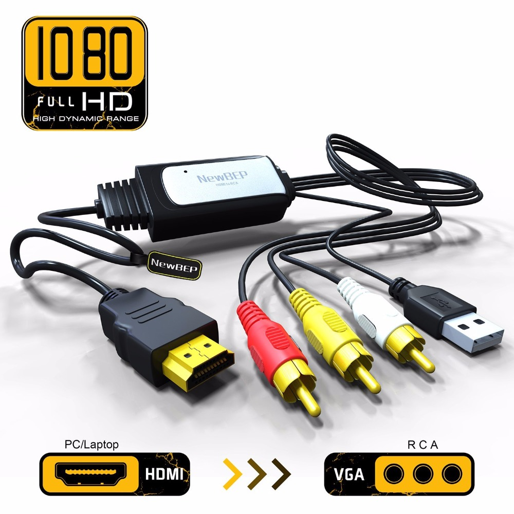 NewBEP High Quality HDMI to RCA Cable HDMI to AV Converter Converts Digital HDMI signal to Analog 3RCA/AV for XBOX 360/PC/DVD