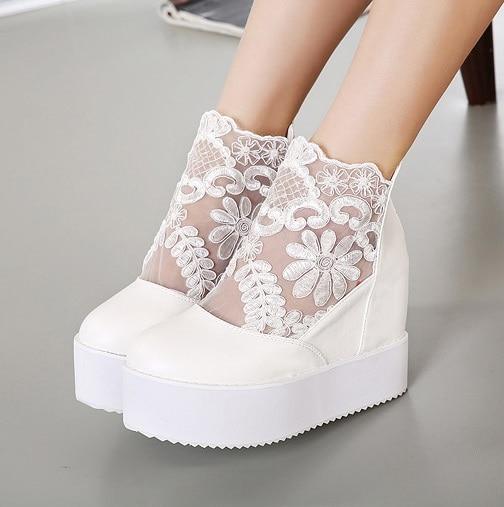 2015 Women Black White Lace Bridal Wedding Wedge Shoes