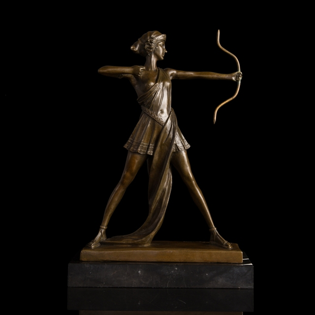 ATLIE BRONZES Modern Western Female archer sculpture bronze statue ...