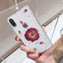 Luxury Real Dried Flower Phone Case For iPhone XS Max XR X 6 6S 7 8 Plus Transparent Rose Floral Soft TPU Back Cover Conque Gift