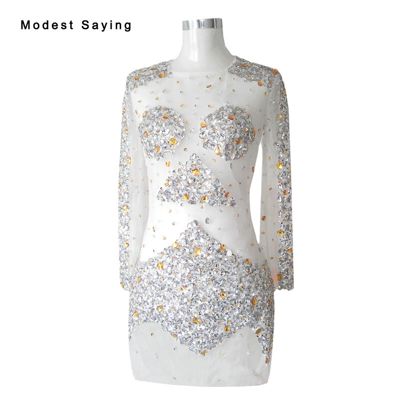 Wholesale Sexy Sheer Silver Straight Long Sleeve Crystal Party Cocktail Dresses 2017 Short Party Prom Gowns Robe Cocktail YC52