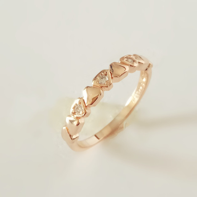 Anniebell 2018 New Fashion 585 Rose Gold Women Rings Trendy Simple Design White Cubic Zircon Wedding
