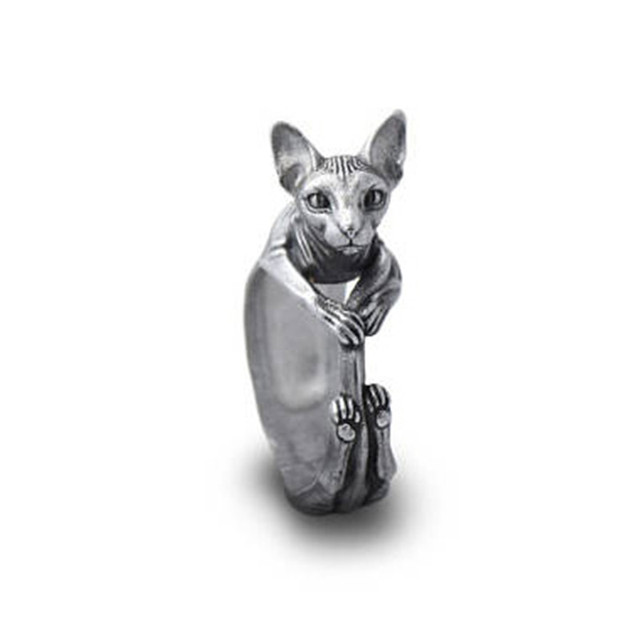 Elfin 2018 New Vintage Retro Sphynx Rings Fashion Cute Cat Jewellery Sphynx Ring