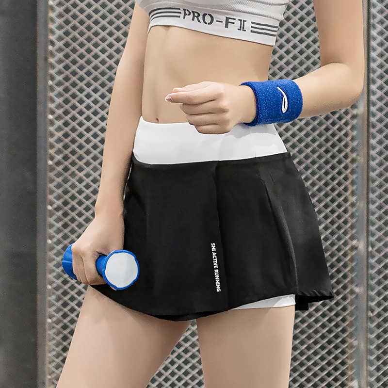 Kobiety tenis Skorts marki lato 2 w 1 krótkie spódnice szybkie suszenie Gym Fitness, joga, bieganie, tenis stołowy Sport Skorts QS