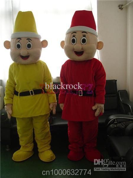 2 Piece Pack Brand new high quality Yellow And Red Seven Dwarfs cartoon Mascot Costume