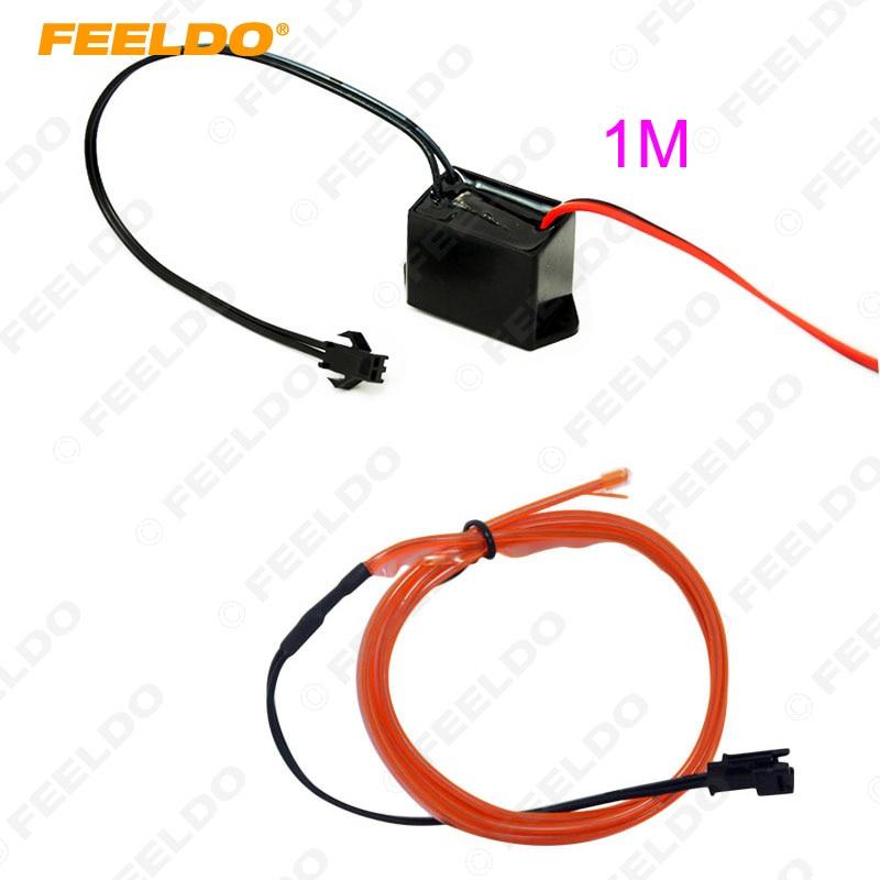 FEELDO 1Pc Red 1m Flexible Leiste EL Neon Glow Lighting Rope Strip - Auto Lichter