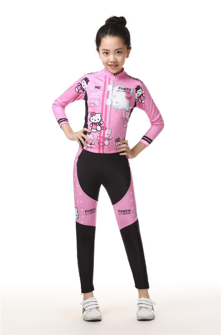 Children Cycling Bike Jersey Long Sleeves Sets Kids