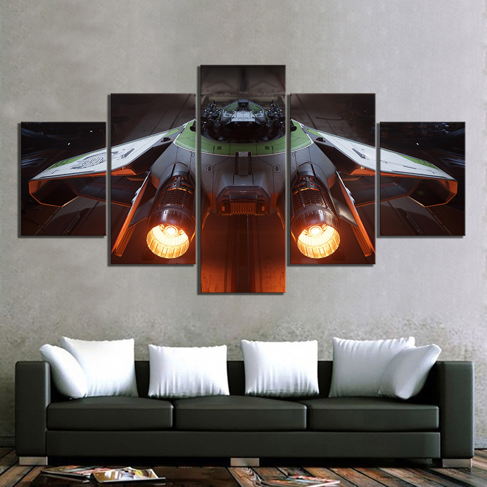 5 Piece Fantasy Art Spaceship Pictures Canvas Paintings Wall Art for Home Decor 1
