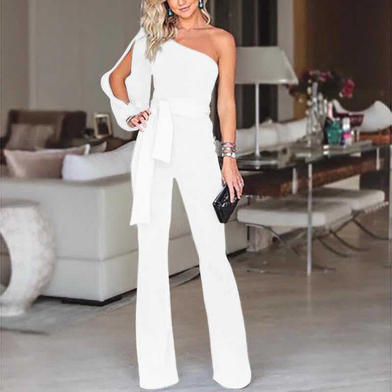 Women Jumpsuit Lady Long Sleeve Bandage Evening Romper Cotton Long Trousers 5 Colors Trendy Fashionable Cotton