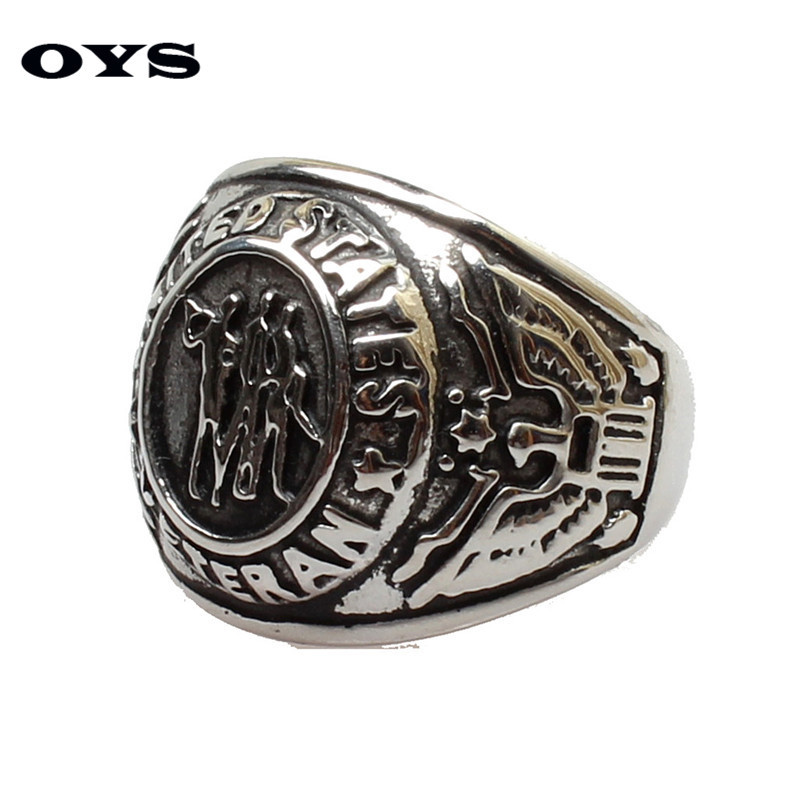 Fshion Europe 316L Titanium Steel Personality ARMY Navy Soldiers Rings For Men,Silver 7-12 Size Wholesale